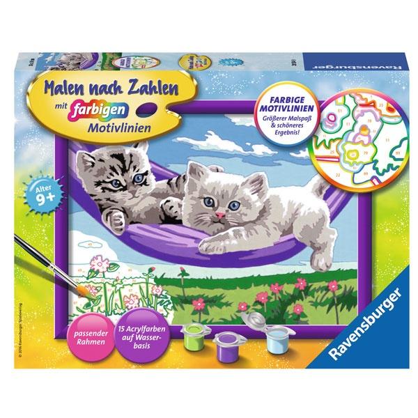 Malen nach Zahlen Kätzchen in der Hängematte