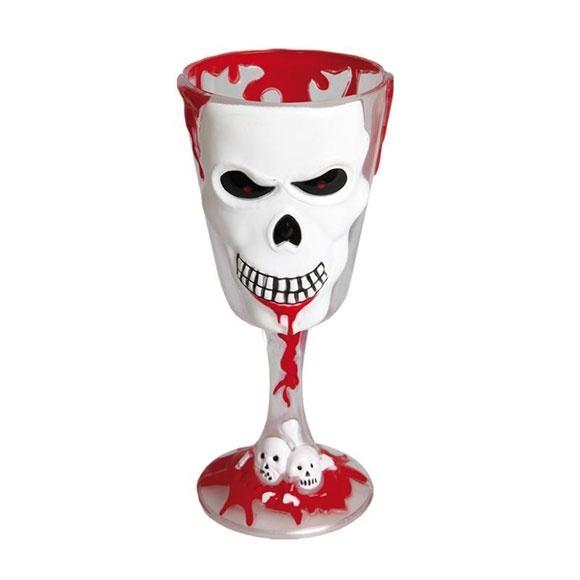Kostüm-Zubehör Horrorweinglas Totenkopf 18cm