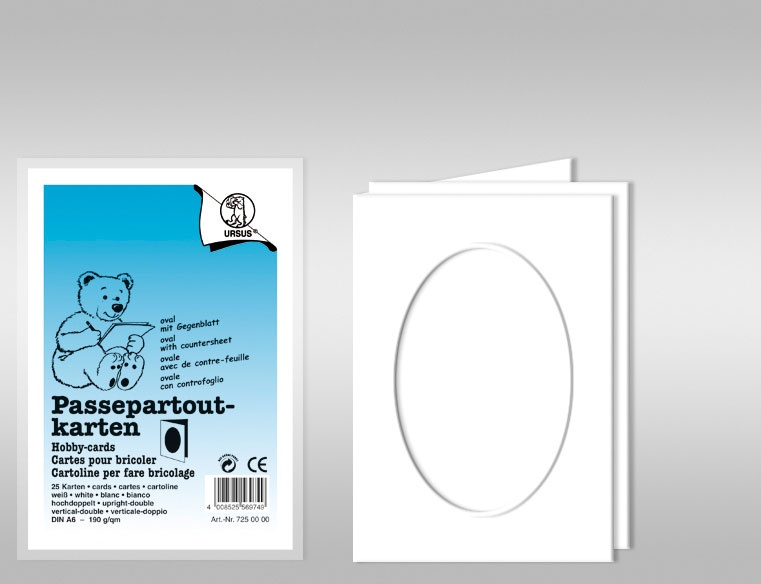 Passepartoutkarten A6 oval weiß 25 Stück