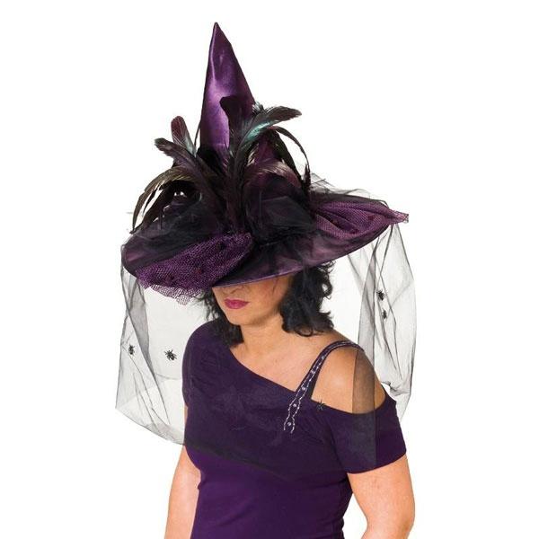 Kostüm-Zubehör Hexenhut mit Federn lila