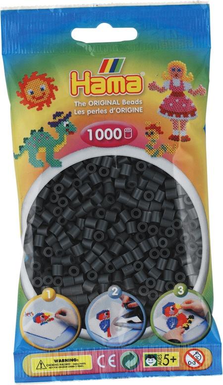 Hama Bügelperlen 1000 Stück dunkelgrau