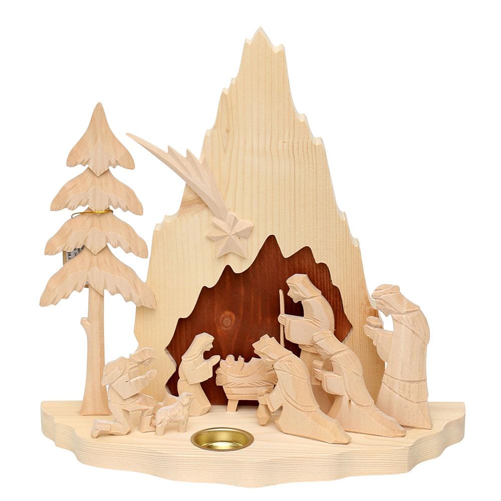 Natur Holz Krippe Heilige Krippe 32 cm