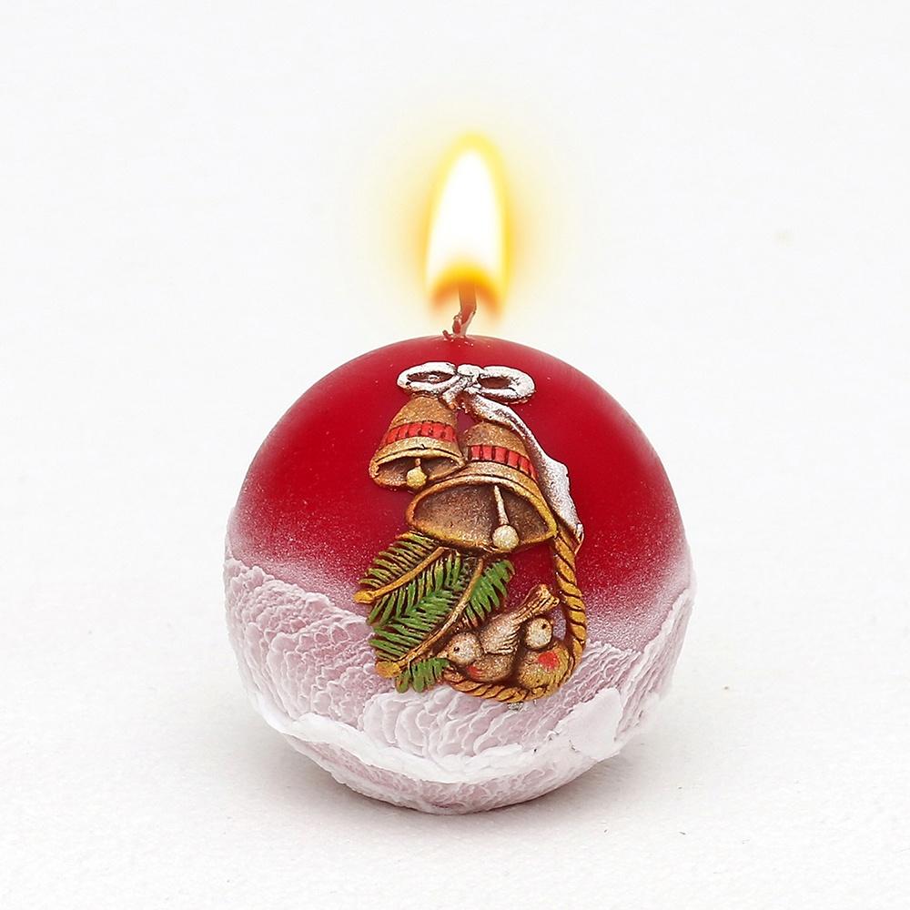 Weihnachtskerze Kugelkerze Glocke weinrot