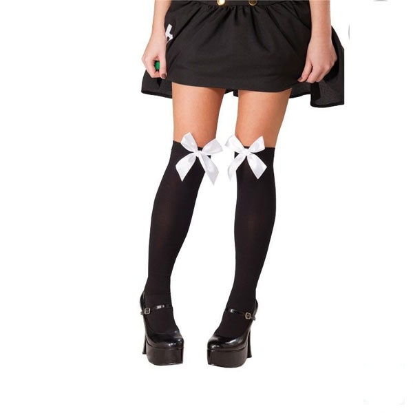 Kostüm-Zubehör Schleifenstrümpfe schwarz/weiß