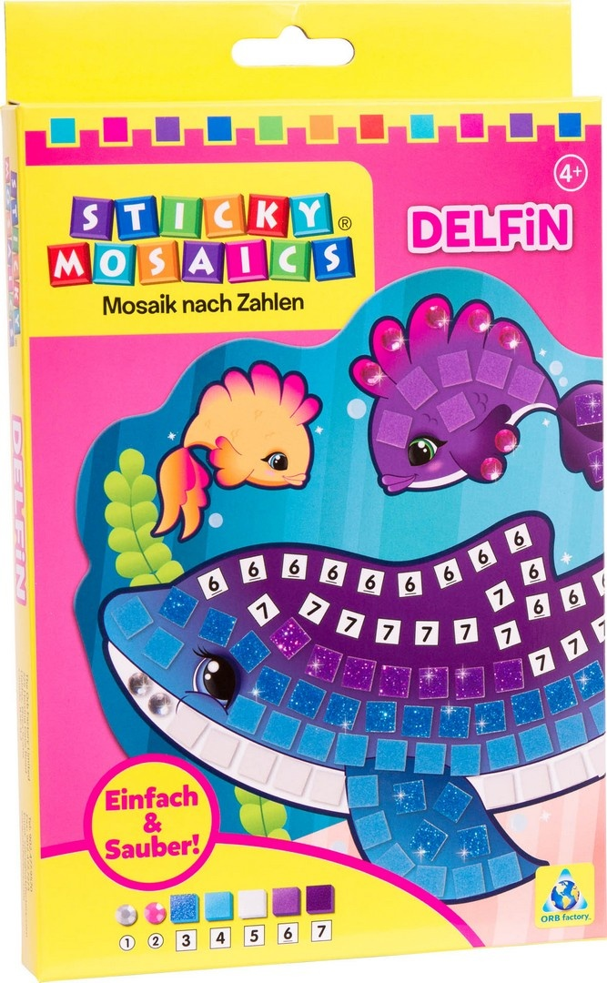 Bastelset Sticky Mosaik nach Zahlen Delfin