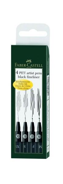 Faber Castell Zeichentusche 4 Stifte sort. schwarz