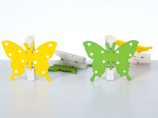 Deko-Schmetterlinge aus Holz 4er gelb