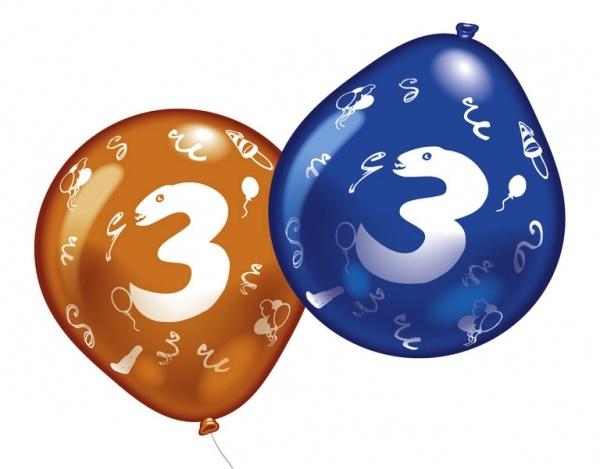 Luftballons mit Zahl 3 10 Stück