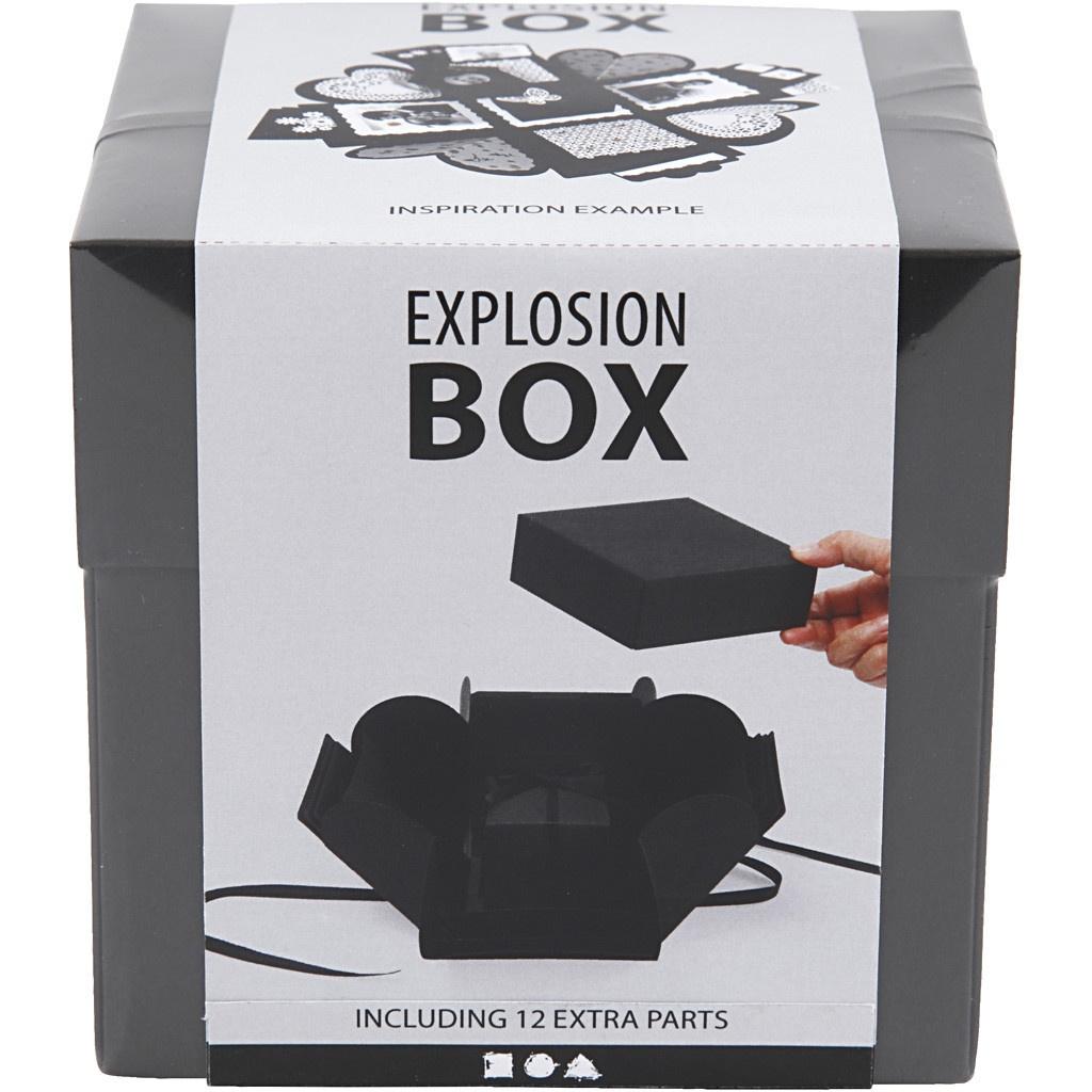 Geschenkbox Explosionsbox schwarz
