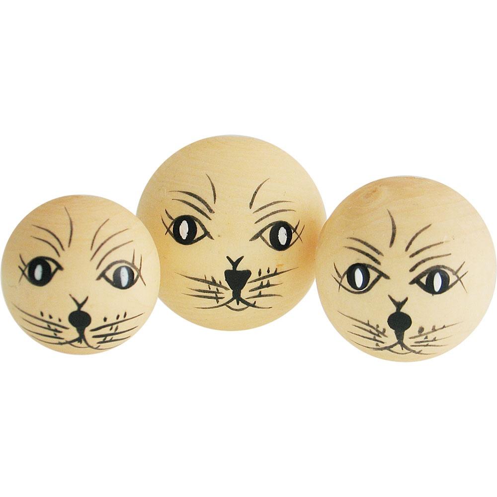 Bastelmaterial Katzenkopf 1/2 gebohrt 3 Stück