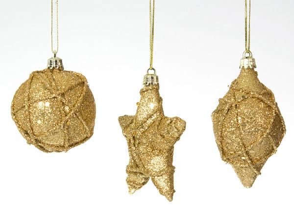 Christbaumschmuck Glitter gold 3 Stück