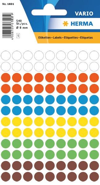 Herma Etiketten Farbpunkte Sortiment 8 mm