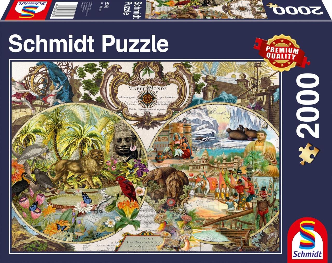Schmidt Spiele Puzzle Exotische Weltkarte 2000 Teile