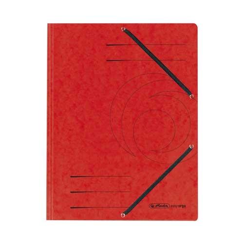 Einschlagmappe A4 mit drei Klappen und Gummizug rot