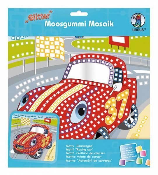 Moosgummi Mosaik Glitter Rennwagen