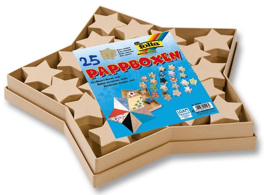 Folia Pappboxen-Set Sterne 25 teilig natur