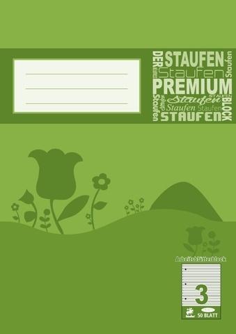 Arbeitsblätterblock A4 50 Blatt Lineatur 3