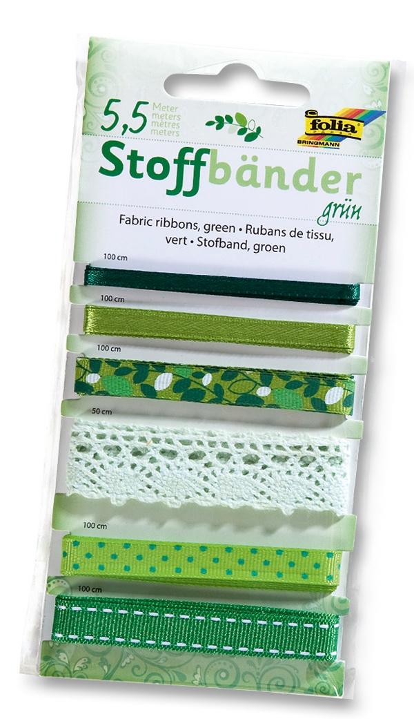 Folia Stoffbänder 6 Stück grün