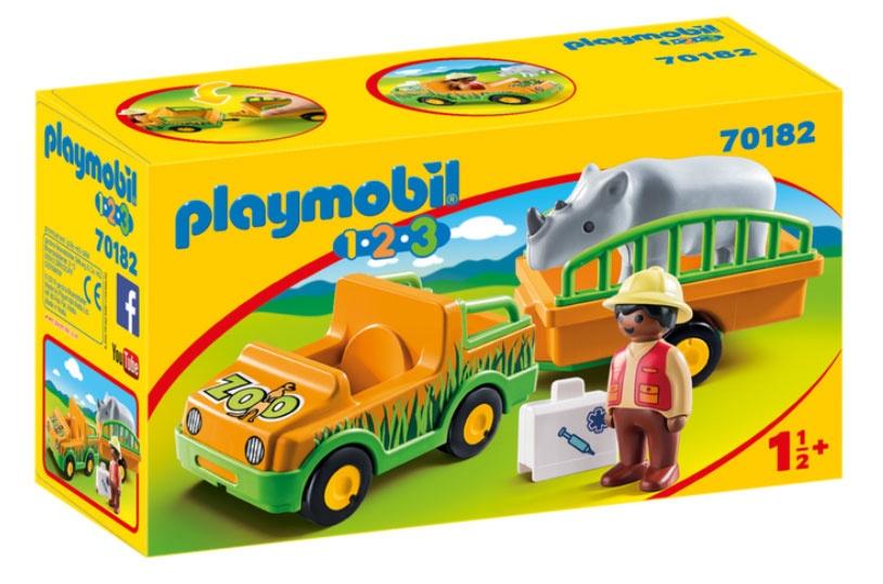 Playmobil 70182 1.2.3 Zoofahrzeug mit Nashorn