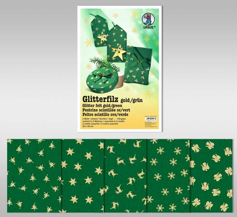 Glitter-Filz grün gold