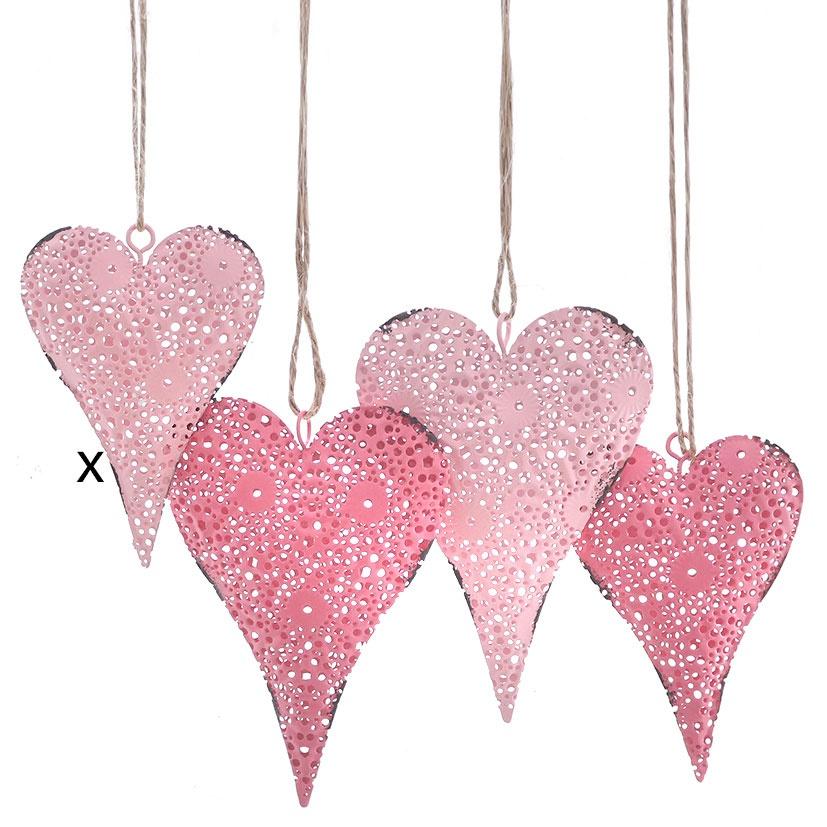 Deko-Anhänger Herzform rosa 10 cm Herz Hochzeitsdekoration