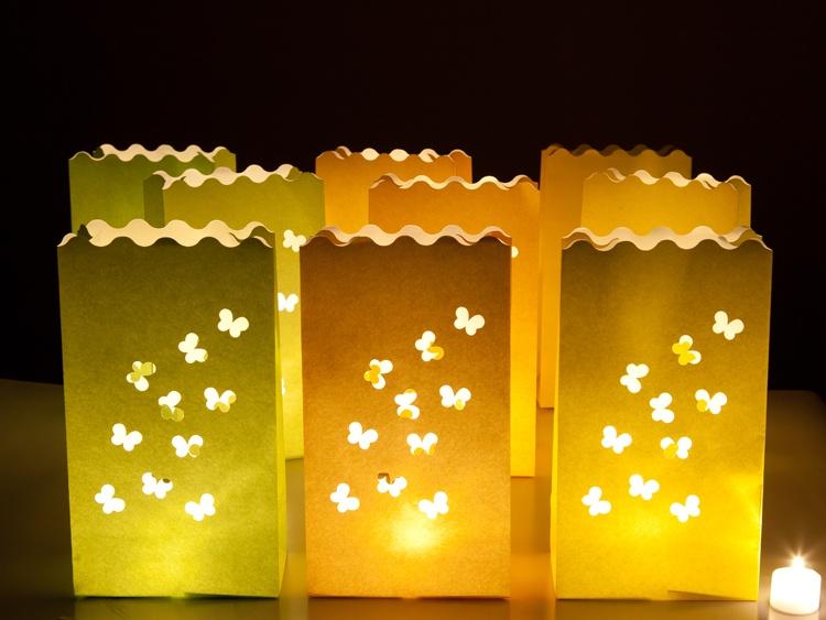 Lichtertüte Schmetterling mit LED-Tellichter 3 Stück