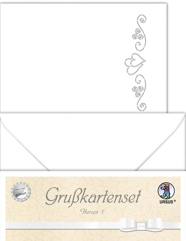 Grußkartenset Herzen  Doppelkarten und Umschläge
