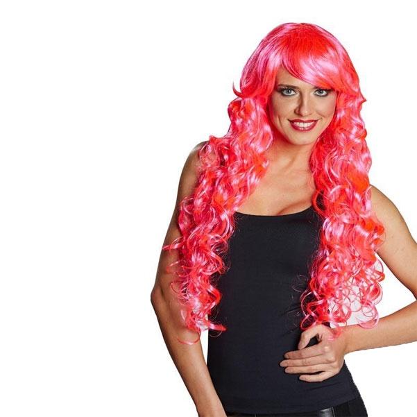 Kostüm-Zubehör Perücke Lockenpracht lang neon-pink