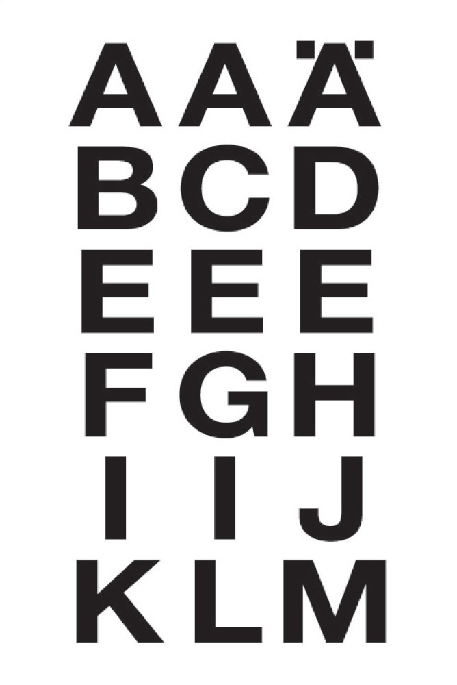 Etiketten schwarze Buchstaben
