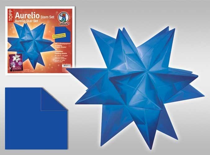 Faltblätter Aurelio Stern blau