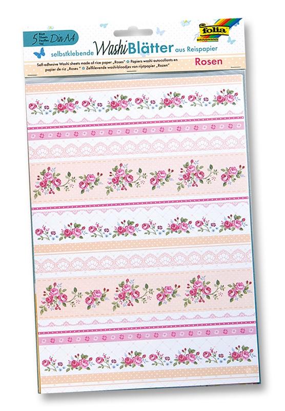 Folia Washiblätter A4 Rosen 5 Blatt