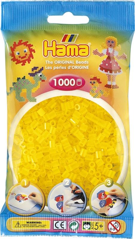 Hama Bügelperlen 1000 Stück transparent gelb