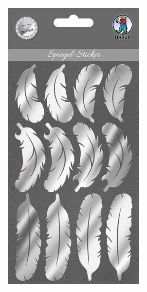 Bastelmaterial Spiegel-Sticker Federn silber