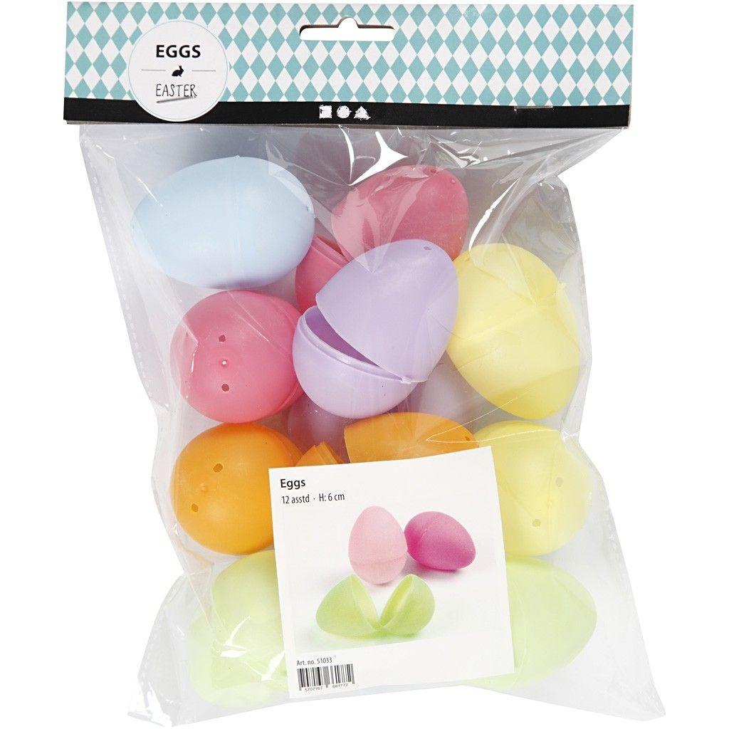 Oster-Eier Kunststoff pastellfarben 12 Stück 6 cm zweiteilig