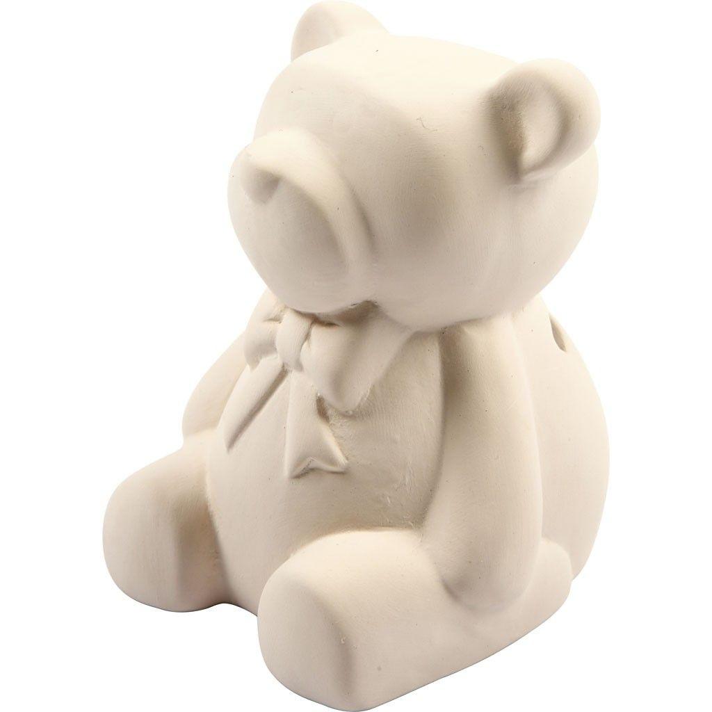 Spardose Bär 9 cm weiß zum Bemalen