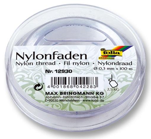 Folia Nylonfaden auf Spule  transparent 100 m