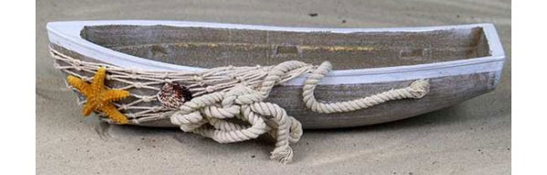 Holz-Boot mit Tau und Seestern 28 cm