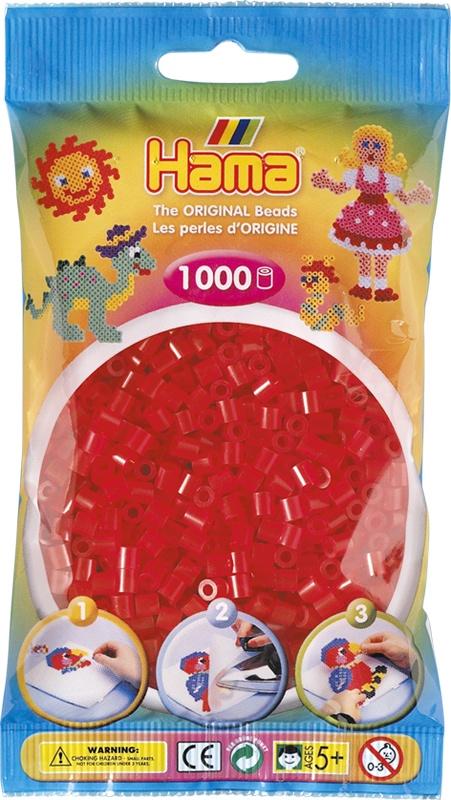 Hama Bügelperlen 1000 Stück transparent rot