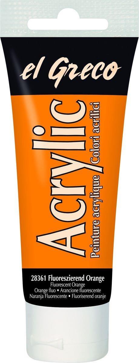 El greco Acrylic Acrylfarbe Fluoreszierend Orange 75ml