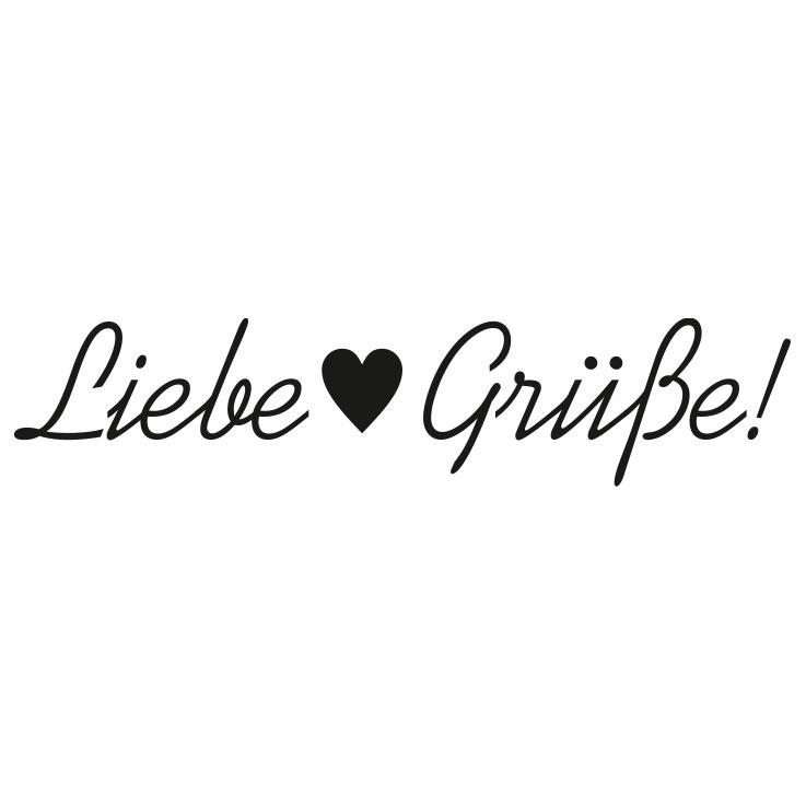Holz-Stempel mit Schriftzug Liebe Grüße