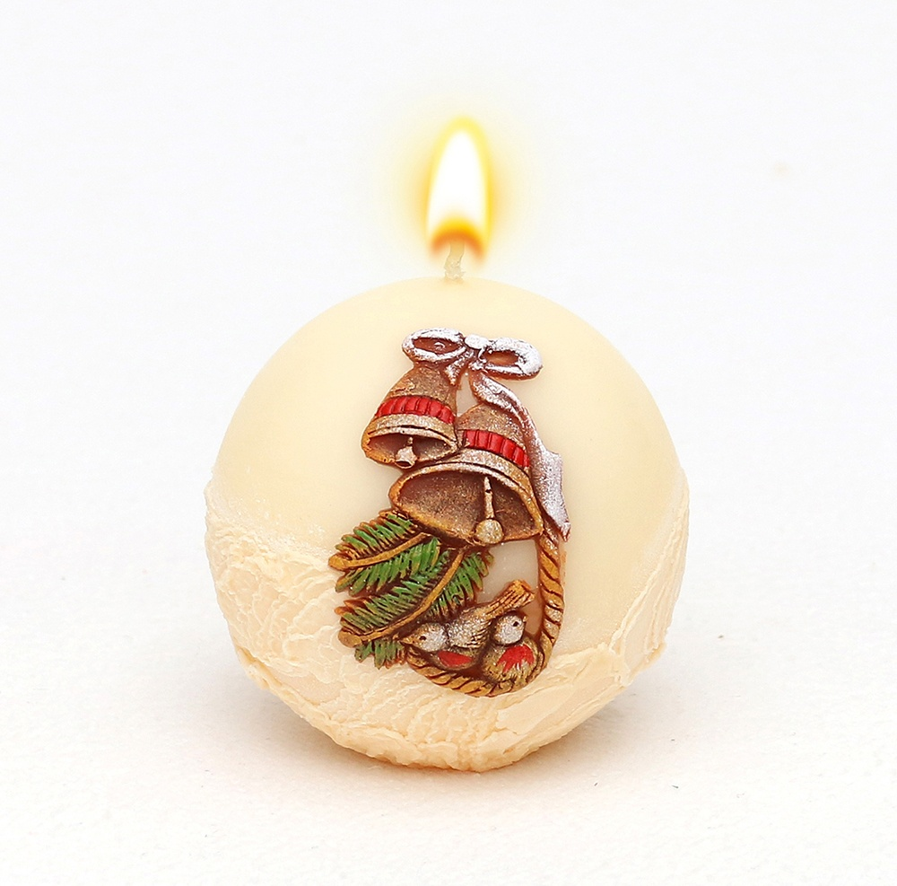 Weihnachtskerze Kugelkerze Glocke creme