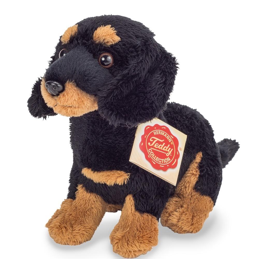 Teddy Hermann Dackel schwarz-braun sitzend 19 cm