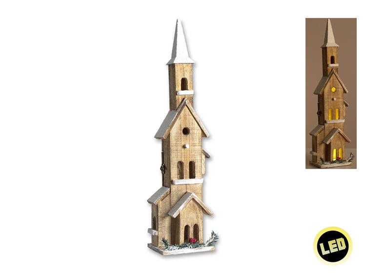 Holz-Kirche im Winter mit Beleuchtung 61 cm