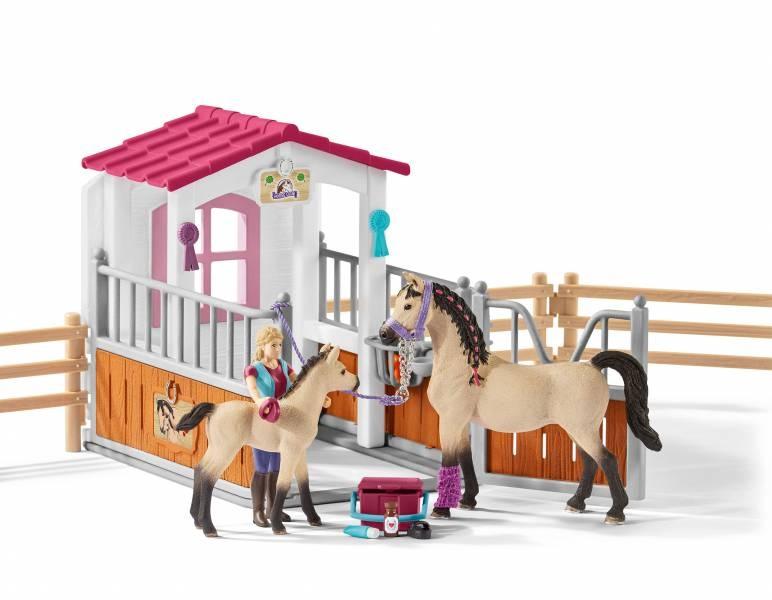 Schleich Horse Club Pferdebox mit Arabern Pferdepflegerin