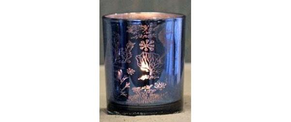 Teelichtglas Maritim-Blau Korallen