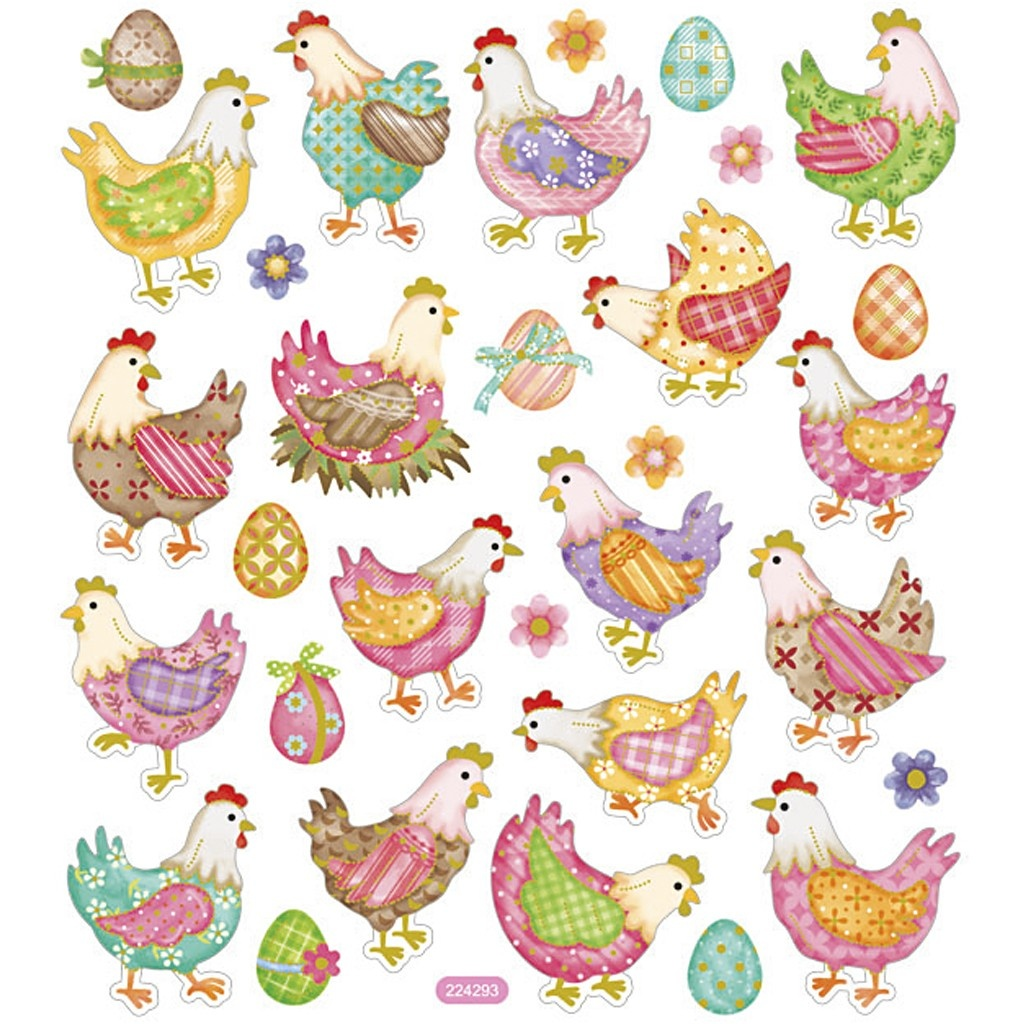Bastelmaterial Sticker Oster-Hühner