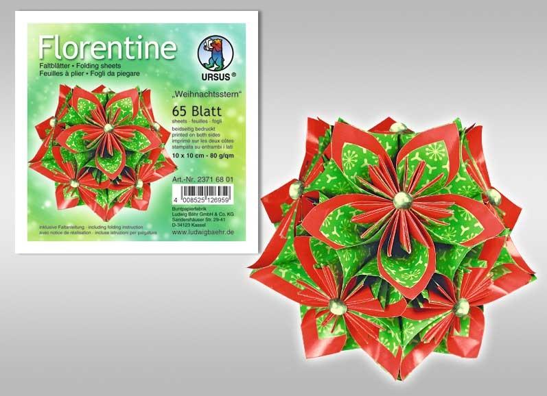 Faltblätter Florentine Weihnachtsstern 10x10cm