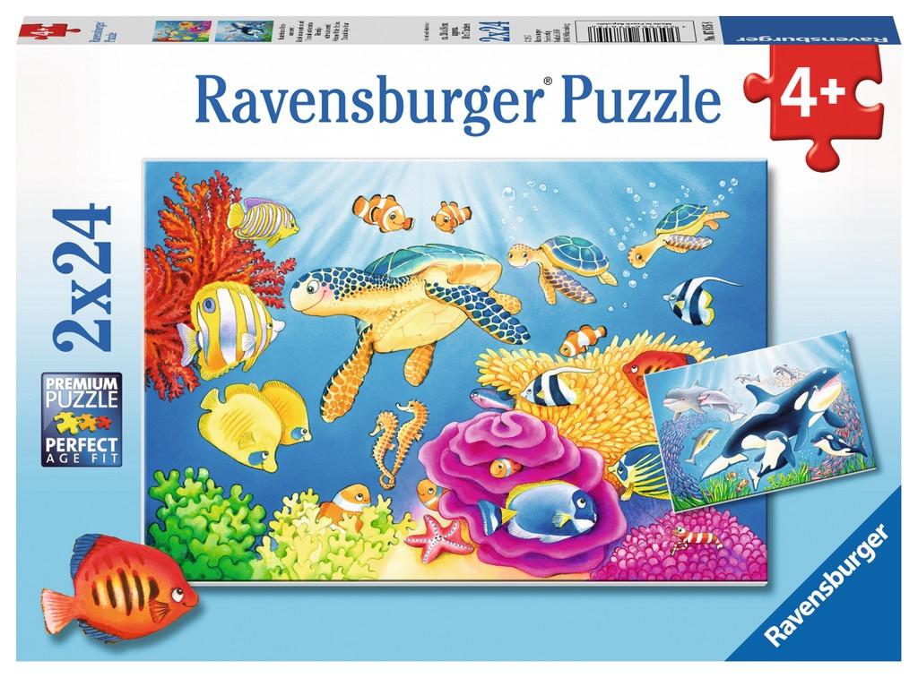 Ravensburger Puzzle Kunterbunte Unterwasserwelt 2 x 24 Teile