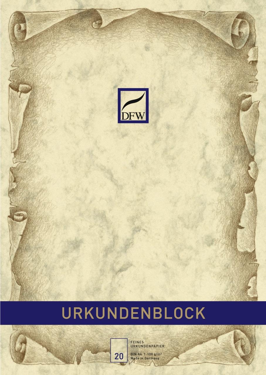 Urkundenblock A4 Marmorpapier chamois 20 Blatt