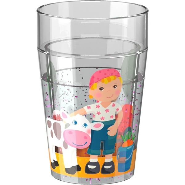 Haba 303426 Glitzerbecher Little Friends Bauernhof